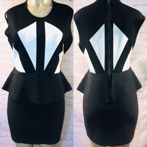 BCBGMAXAZRIA Caprice Geometric Peplum Dress